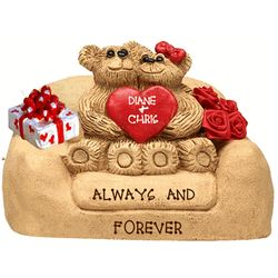 Personalized Together Forever Girl & Boy Bears in Loveseat