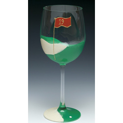 19th Hole Hand-Painted Wine Glass