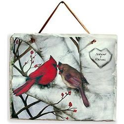 Personalized Cardinal Couple Slate