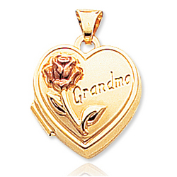 14k Yellow Gold Grandma Flower Heart Locket