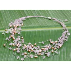 'Cascade' Pearl and Rose Quartz Necklace
