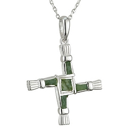 Sterling Silver Connemara Marble St. Brigid Cross