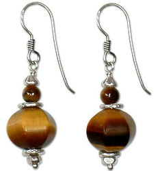 Golden Lantern Tiger's Eye Dangle Earrings