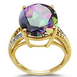 Diamond and Mystic Green Topaz Ring in 14K Yellow Gold