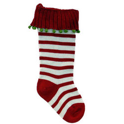Red and Ecru Knit Christmas Stocking
