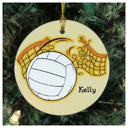 Personalized Ceramic Volleyball Ornament