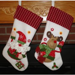 Santa or Reindeer Plush Personalized Christmas Stocking