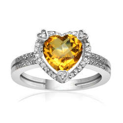Sterling Silver Citrine Birthstone and Diamond Heart Ring