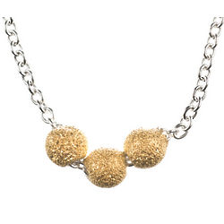 3 Wishes Gold Dipped Stardust Bead Necklace on Sterling Chain
