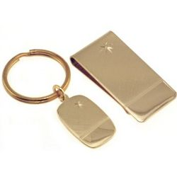 Engraved Star Money Clip and Key Chain