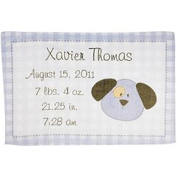 Personalized Blue Puppy Fuzzy Baby Blanket