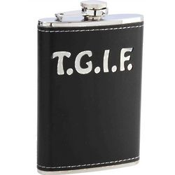 Faux Leather TGIF Flask