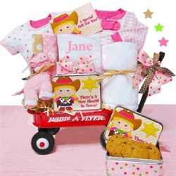Cowgirl with Radio Flyer Baby Girl Gift Basket