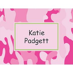 Pink Camouflage Personalized Note Cards