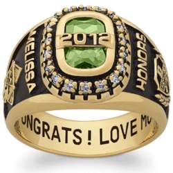 Women's Yellow Celebrium CZ Encrusted Personalized Class Ring