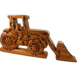 Tractor with Front Loader Wooden 3D Jigsaw Puzzle Brain Teaser