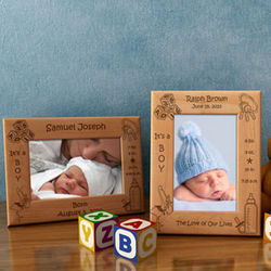 Personalized Boy Birth Announcement Wooden Picture Frame