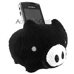 Soft Plush Pig Cell Phone Holder - Black