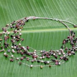 Cascade Pearl and Tourmaline Strand Necklace