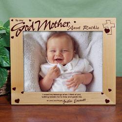 Engraved Godparent Wood Picture Frame
