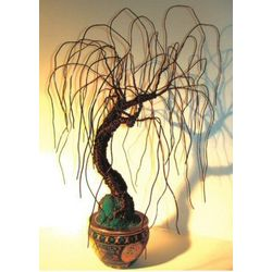 Asian Willow Wire Bonsai Tree Sculpture
