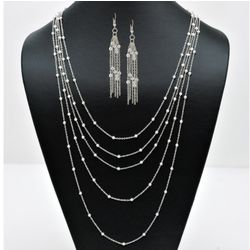 Silver Multi-Chain Beaded Station Necklace and Earrirings Set