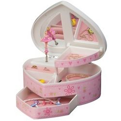 Glitter Daisy Heart Shaped Ballerina Musical Jewelry Box