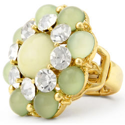 Green Cabochon and Crystal Stretch Ring