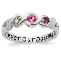 Platinum Over Sterling Daughters' Name and Date Birthstone Ring