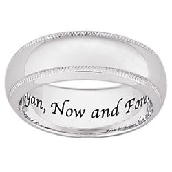 Laser Engraved Sterling Silver Polished Milgrain Band