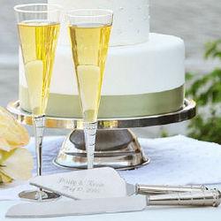 Engraved Royal Champagne Flutes & Cake Server Set
