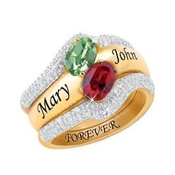 Personalized Diamond and Birthstone Ring Set