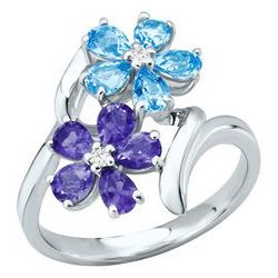 Blue Topaz and Iolite Flower Ring