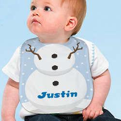 Personalized Snowman Baby Bib
