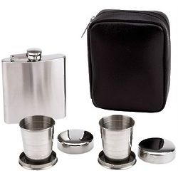 Flask with Collapsible Cups Gift Set