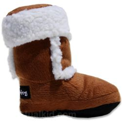 Faux Shearling Boot Dog Toy