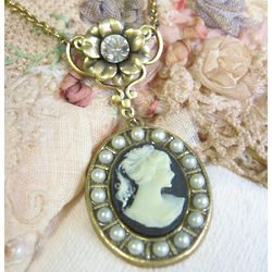 Lady Mary Black Cameo Necklace
