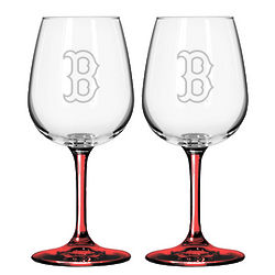 Boston Red Sox Satin Etched Wine Glasses