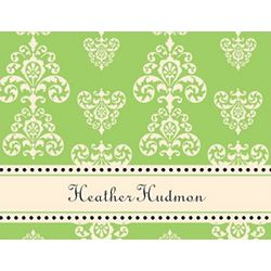 Lime and Creme Flourish Personalized Note Cards