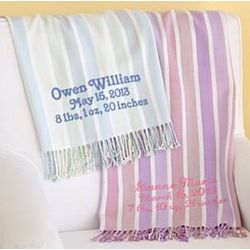Extra Soft Personalized Striped Baby Blanket