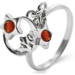 Sterling Silver Baltic Amber Moon snd Star Charm Ring