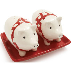 Pig Salt and Pepper Set with Tray