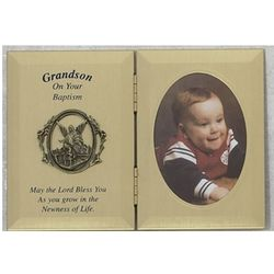 Grandson Baptism Folding Plaque Photo Frame