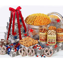 Patriotic Sweets and Snacks Gift Tower