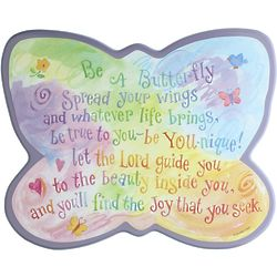 Be A Butterfly Poem Cutout Plaque