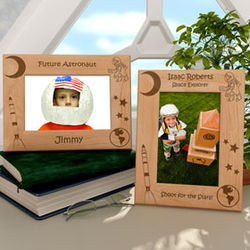 Personalized Astronaut and Rocketship Wooden Picture Frame