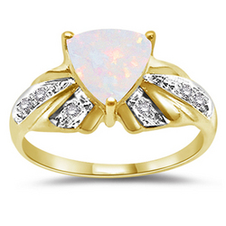Diamond and Opal Ring in 14K Yellow Gold