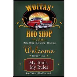 Personalized Rod Shop Garage Bar Sign