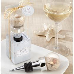 Seaside Sand and Shell-Filled Globe Bottle Stopper