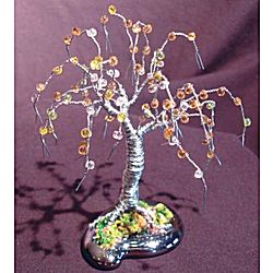 Wire Bonsai Sculpture Beaded Mini Tree